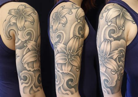 lily quarter sleeve tattoo lily sleeve by ownskool on deviantart
