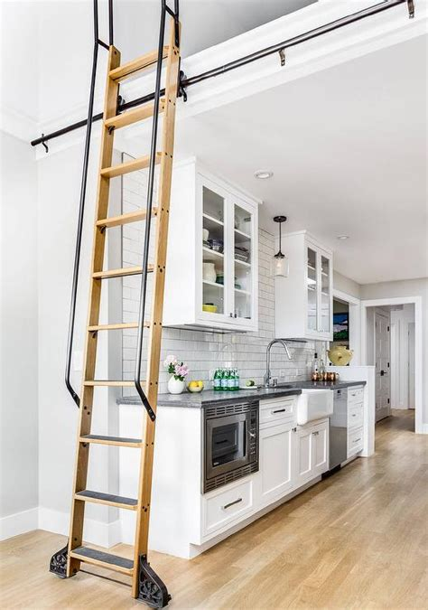 Ladder Kitchen Design Black Leathered Granite Countertops Design Ideas