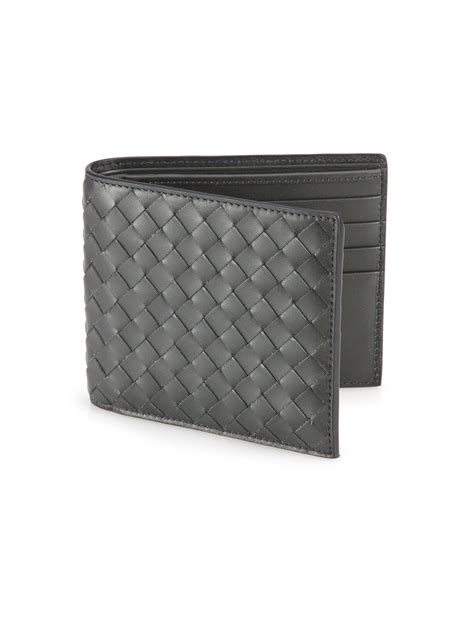 Bottega Veneta Wallet bottega veneta intrecciato leather wallet in gray for lyst