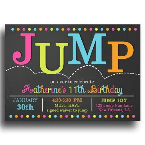 Printable Jump Birthday Invitations | jump invitation printable jump bounce troline