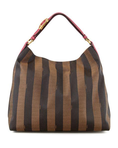 Fendi Hobo by Fendi Pequin Borsa Hobo Bag Fuchsia Brown