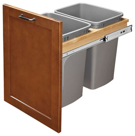double 35 qt top mount wood pull out trash containers rev pull out top mount wood silver waste container ball