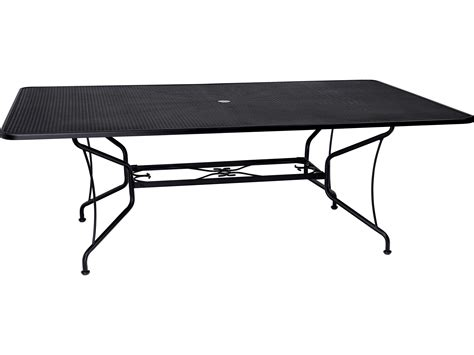 Rod Iron Patio Table Woodard Wrought Iron 60 X 84 Rectangular Dining Table With Umbrella 190284