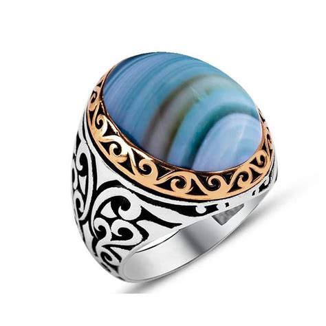 ottoman rings for men striped blue aqeeq stone silver men ring boutique