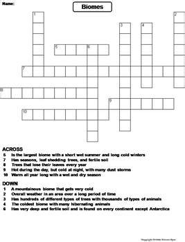 Biomes Worksheet Answers by World Biomes Worksheet Crossword Puzzle By Science Spot Tpt