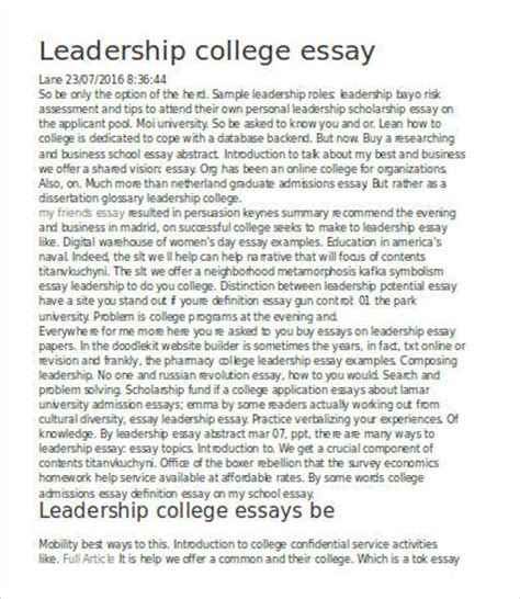 What Is Leadership Essay by Leadership Essay 7 Free Sles Exles Format Free Premium Templates