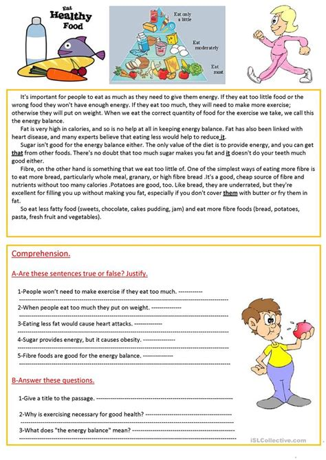 reading comprehension test about food health reading comprehension descargardropbox