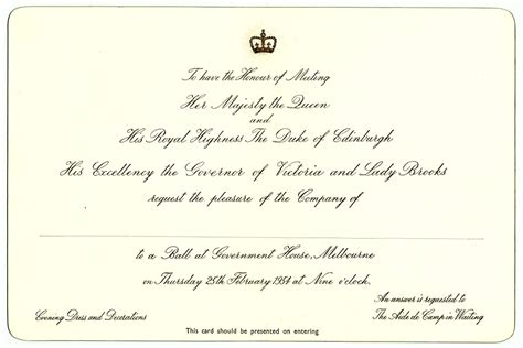 Royal Invitation Letter Exle Royal Family Files Invitation To A At Government House Melbourne Record Office