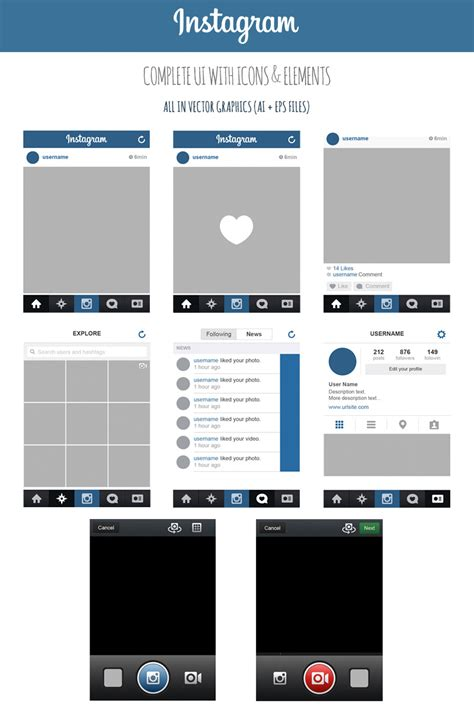 instagram layout video and photo free instagram complete vector ui by marinad on deviantart