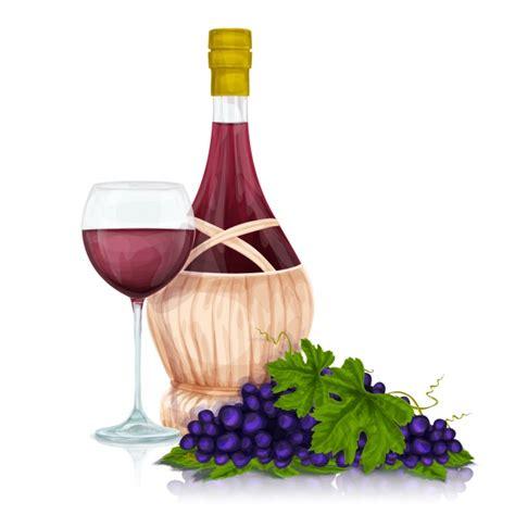 imagenes de uvas y copas botella de vino con un copa y uvas descargar vectores gratis