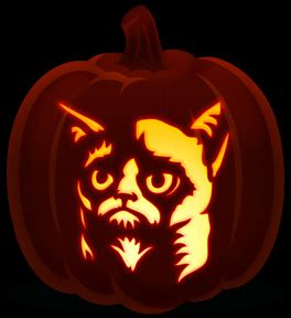 Meme Pumpkin Stencil - grumpy cat orange and black pumpkins