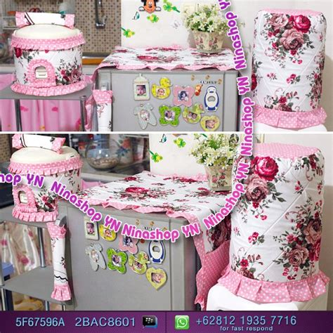 jual mari order gkm sarung galon cover kulkas tutup kulkas motif shabby doty pink murah di lapak