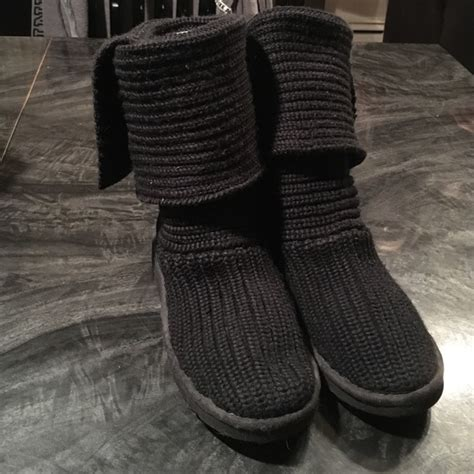 ugg uggs classic cardy knit black boots from s