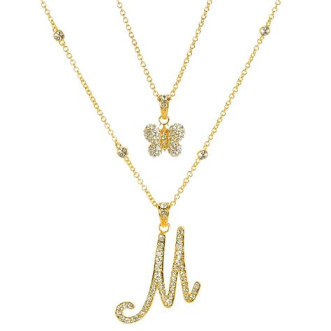 Set Of 2 Pendant Necklace carey quot initial pendant remix quot set of 2 pendants