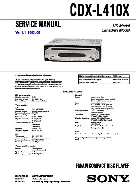 sony cdx l410 wiring diagram 28 wiring diagram images