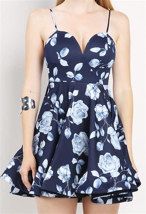 Yuana Flowery Flare Mini Dress flower printed flare dress shop at papaya clothing