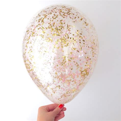 Pink gold confetti balloons set of 3 confetti filled