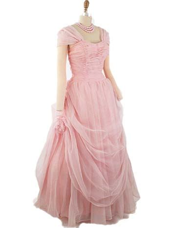 Ruched Draped Skirt Authentic 1950s Pink Chiffon Ball Gown 50s Vintage Formal