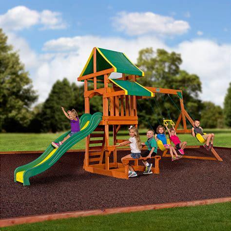 cedar summit brookridge cedar wooden play swing set cedar summit laurentian cedar wooden swing set walmart com
