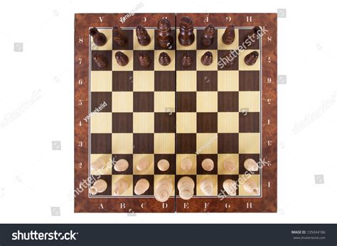 Chess Top chess board with starting aligned chess pieces top view isolated on white background