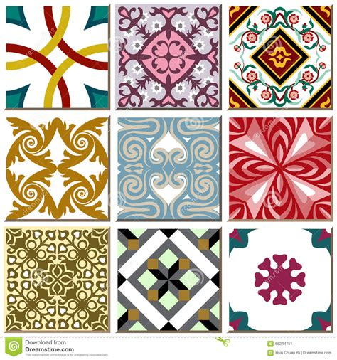 retro pattern wall tiles vintage retro ceramic tile pattern set collection 006
