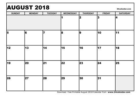 printable calendar august 2018 blank august 2018 calendar in printable format