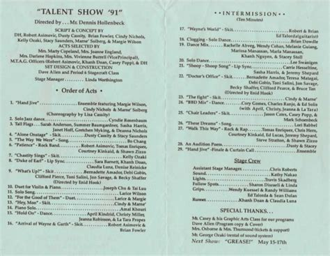 talent show program template school talent show program template book covers