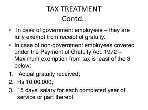 gratuity exemption under section 10 advance deferred components of ctc