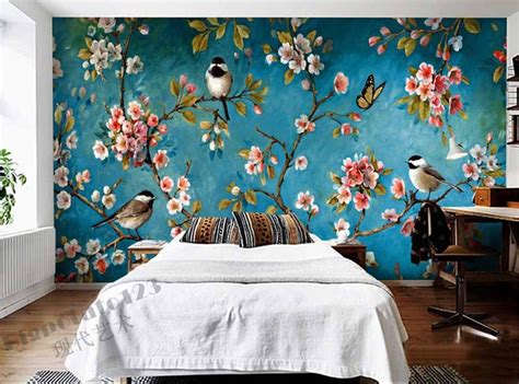 how to paint a mural on a bedroom wall indoor wall mural wallpaper plum blossom peach apple