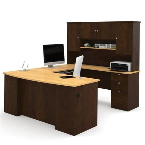bestar u shaped desk bestar manhattan u shaped computer desk in secret maple