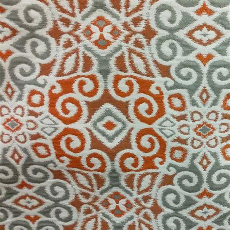 Orange And Grey Upholstery Fabric M9905 Abstract Peko Orange Grey Woven Ikat Upholstery
