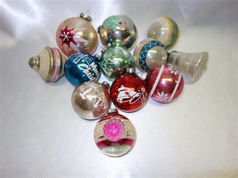 12 vintage american made glass christmas ornaments from