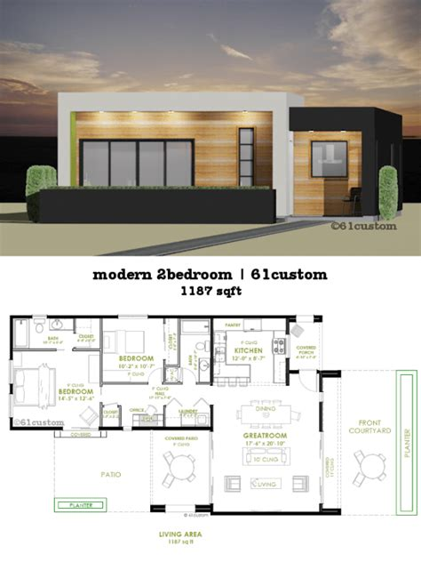 House Design Two Bedroom Modern 2 Bedroom House Plan 61custom Contemporary