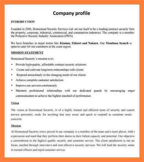 small business company profile template 6 sle company profile doc company letterhead
