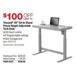 tresanti tech desk costco tresanti 48 in sit to stand powerr height adjustable tech