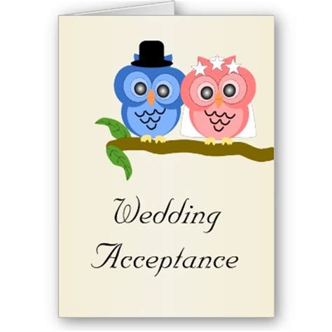 acceptance card template theme owl always you weddingbee