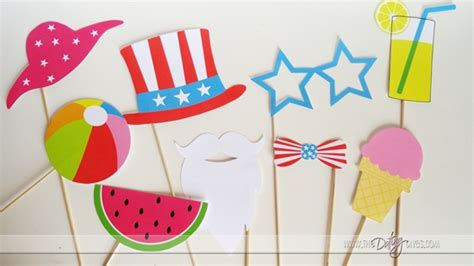 printable photo booth props summer 4th of july summer photo booth props