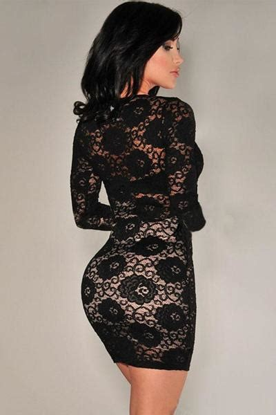 Minidress With Polyester Spandex Materials Jg8263 quot bold series quot sleeve v neck lace mini dresses hisandherfashion