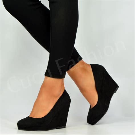 brand new womens wedges high heel platforms pumps black shoes size uk 3 8 ebay