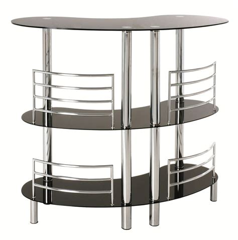 drink table bar black glass chrome 3 tier home pub drinks bar 95222 ebay