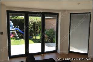 window treatments for large sliding glass doors magnet operated integral blinds in bifold doors