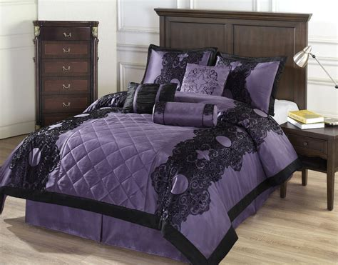 victoria 7pc comforter set purple w black floral flocking