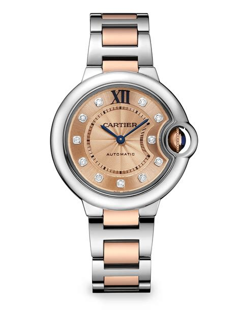 Cartier Ballon Bleu De Diamond Stainless Steel 18k Rose Gold Bracelet Watch in Pink (ROSE GOLD