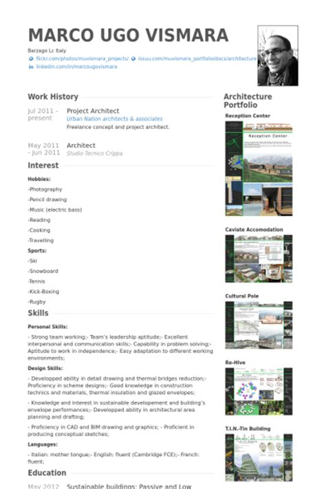 cv template for architects projektarchitekt cv beispiel visualcv lebenslauf muster