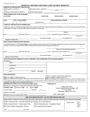 Va State Criminal History Record Sp167 Fill Printable Fillable Blank Pdffiller