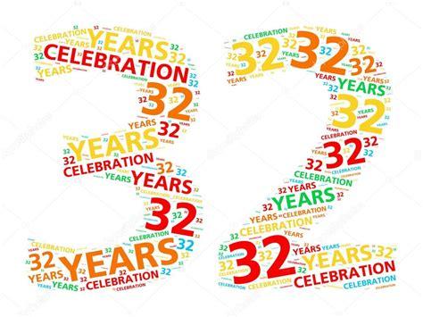 4 aos para 32 nube de palabra colorido para celebrar un cumplea 241 os de 32 a 241 os o aniversario fotos de stock