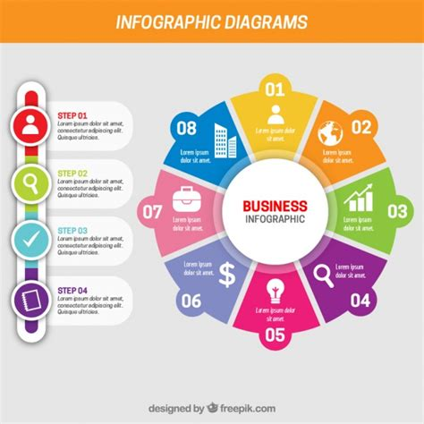 diagram infographic business infographic with different steps vector free