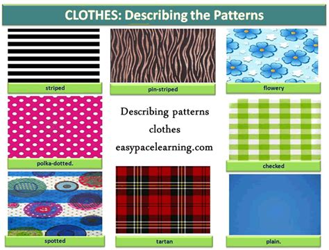 clothes pattern esl learning about clothes patterns english lesson learning