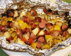 grilled sausage and vegetables in foil packet
