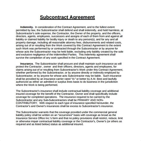 standard subcontract agreement template 15 sle subcontractor agreements sle templates